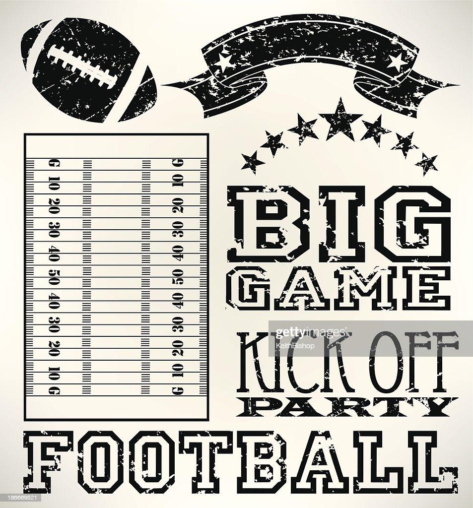 Football Grunge Elements - Ball, Field, Banner