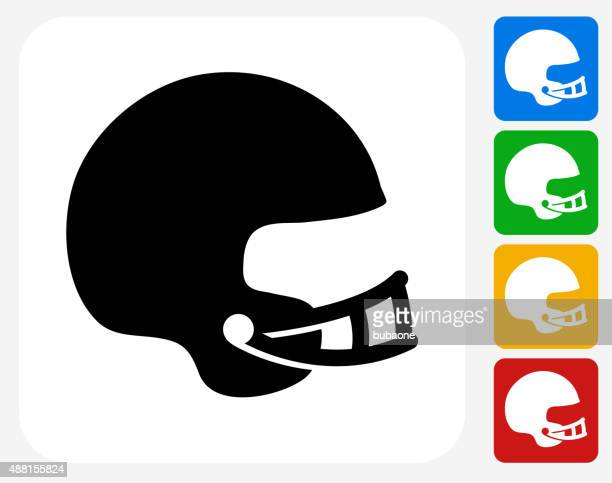 football helmet icon flat graphic design - safety american football player stock illustrations, clip art, cartoons, & icons