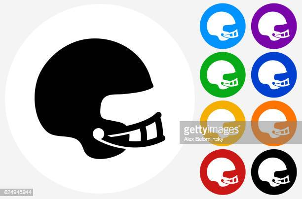 football helmet icon on flat color circle buttons - safety american football player stock illustrations, clip art, cartoons, & icons