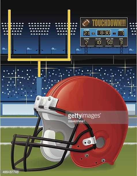 football helmet in stadium - football scoreboard stock illustrations