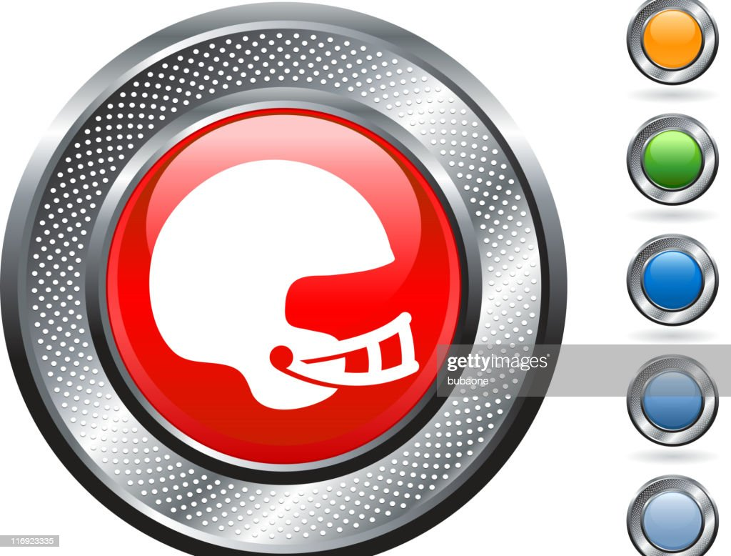 football helmet royalty free vector art on metallic button