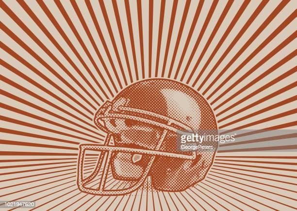 football helmet with vector sunburst - sports uniform stock illustrations
