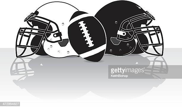Football Helmets and Ball Graphic