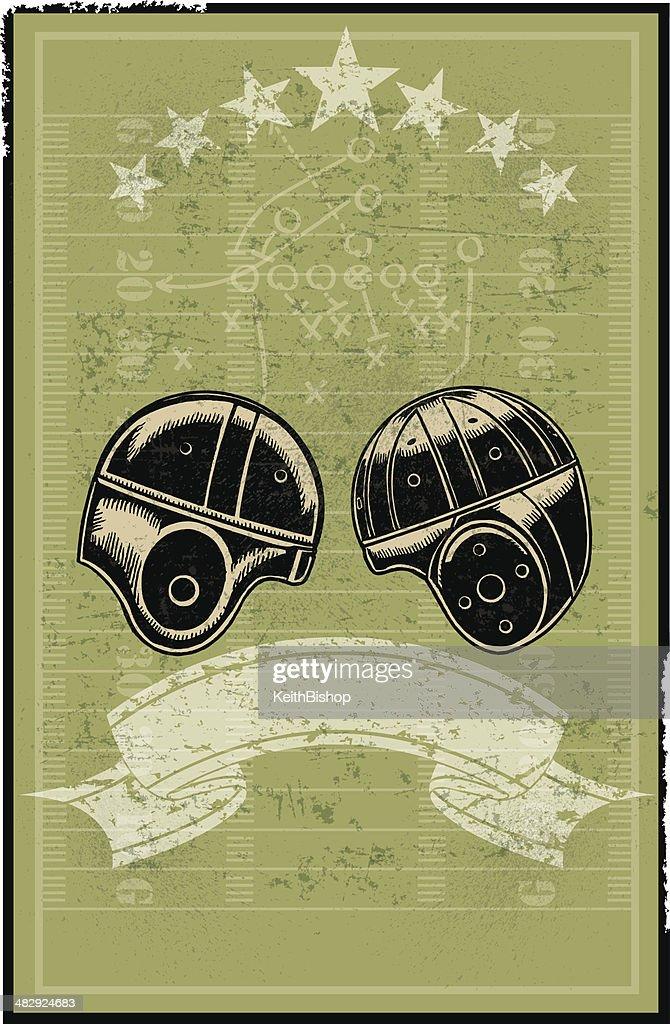 Football Helmets, Field, Banner Retro Background