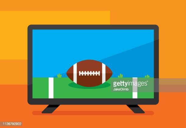hdtv football icon flat - wide screen stock illustrations