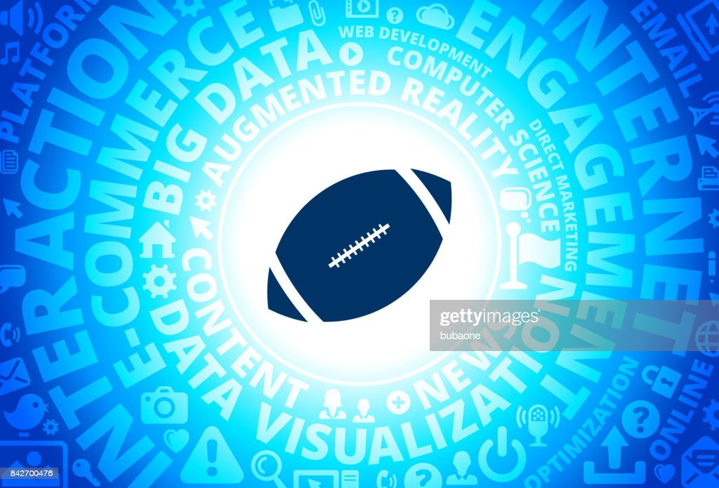 Football Icon on Internet Modern Technology Words Background