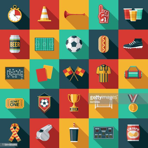 football (soccer) icon set - sports round stock illustrations