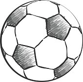 Football icon sketch or Soccer ball drawing in doodles style. Hand-drawn sketches in monochrome. Sport vector.