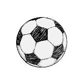 Football icon sketch or soccer drawing in doodles style. Hand-drawn in minimalism.