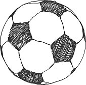 Football icon sketch. Soccer ball hand-drawn in doodles style