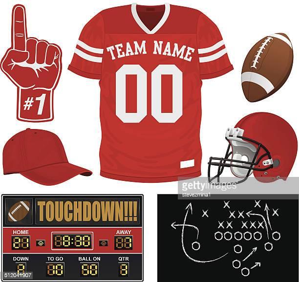 football jersey set - american football uniform stock illustrations
