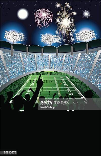 football kickoff in stadium, crowd and fireworks background - fan enthusiast stock illustrations, clip art, cartoons, & icons