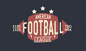 Football league symbol. American Football ball. Trendy retro symbol. Vintage poster with text and ball silhouette. Template. Vector Illustration