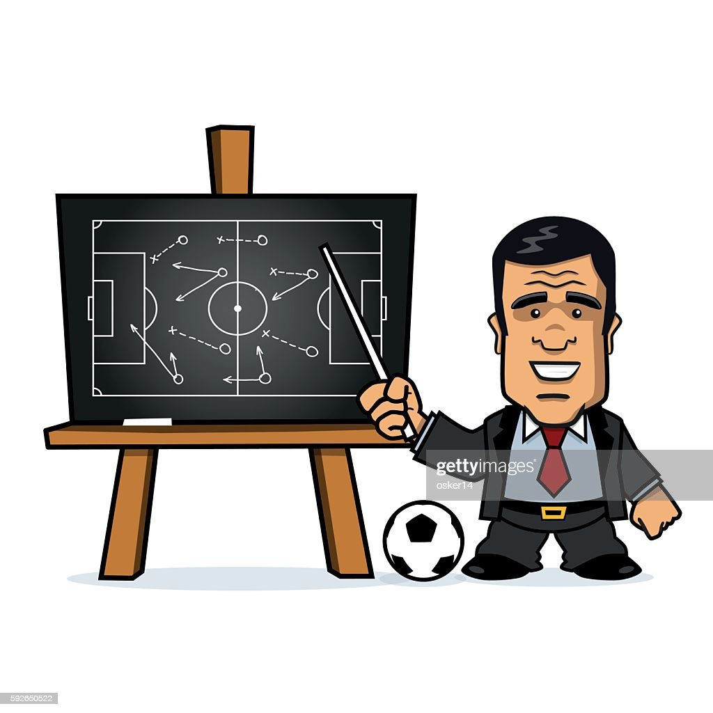 Football Manager pointing at Chalkboard