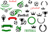 Football or soccer game symbols for sport design