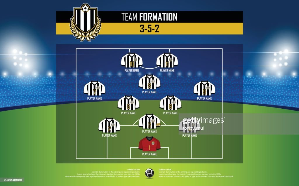Football or soccer match formation infographic. Soccer jersey and football player position on football pitch. Football symbol in flat design. Vector.