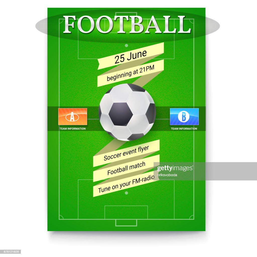 Football Or Soccer Poster With Text Design Template For Game Tournament Ball Above Green Field Flags Of Participating Teams