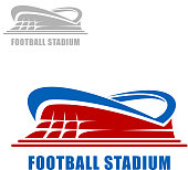 Football or soccer stadium building icon