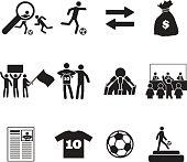 Football or soccer transfer icons set