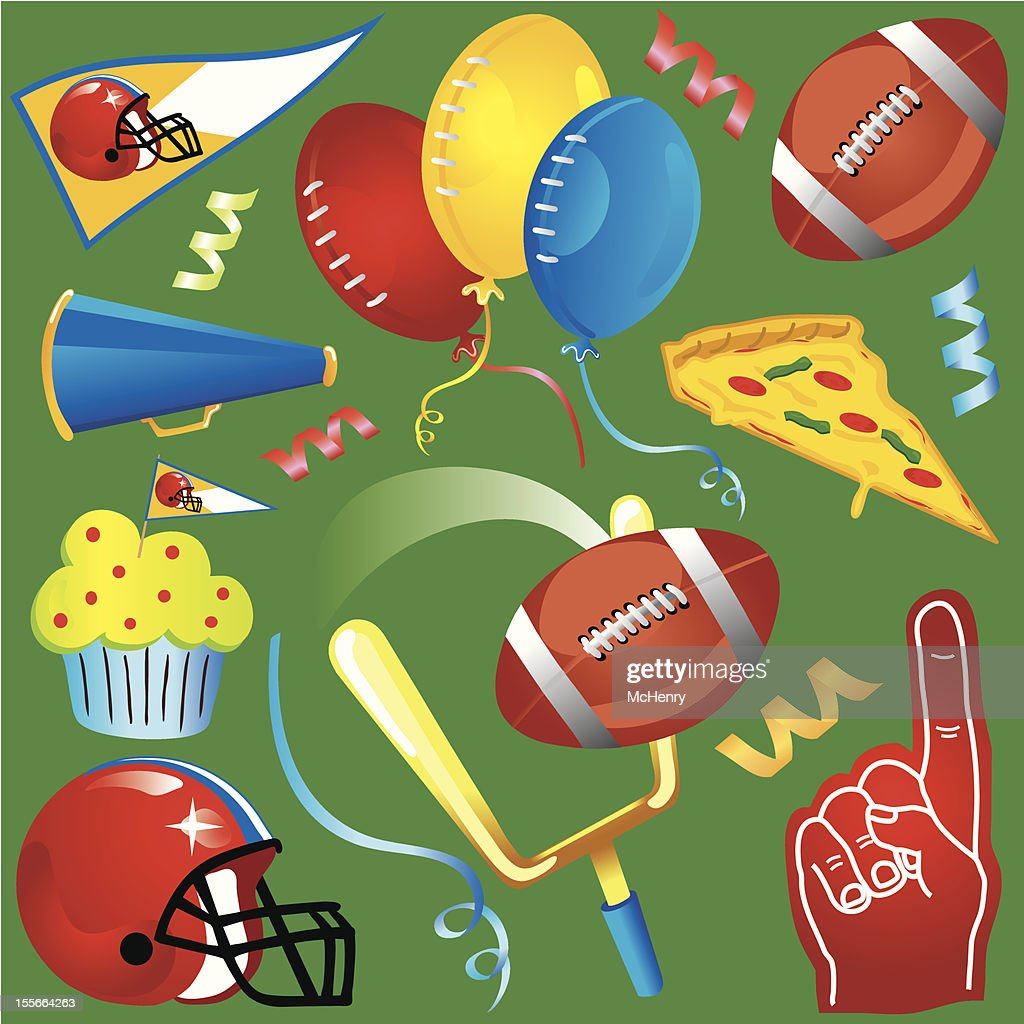 Football Party Clipart Icons