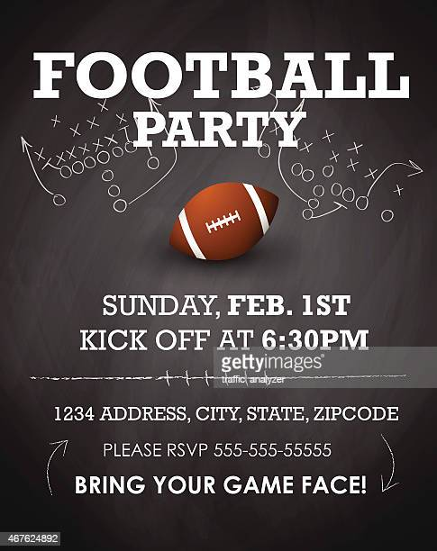football party invitation - offense sporting position stock illustrations