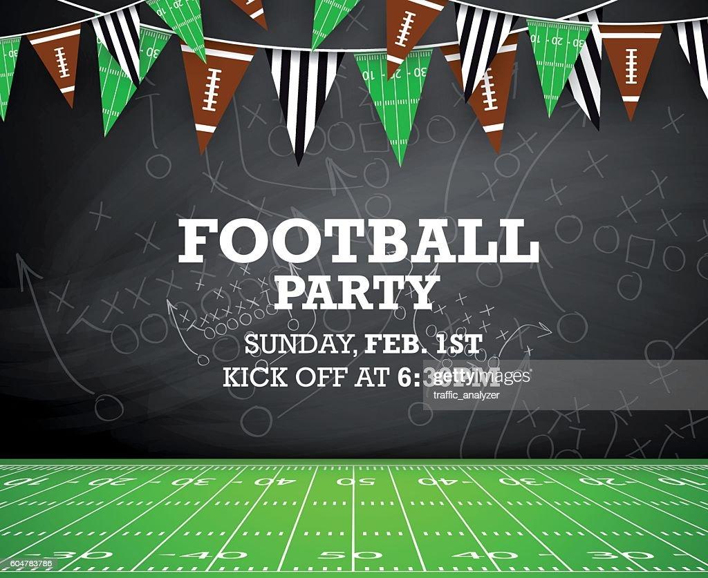 Football party invitation : stock illustration