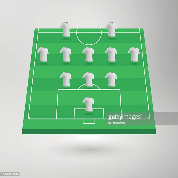 football pitch / soccer field section with shirts - football field stock illustrations, clip art, cartoons, & icons