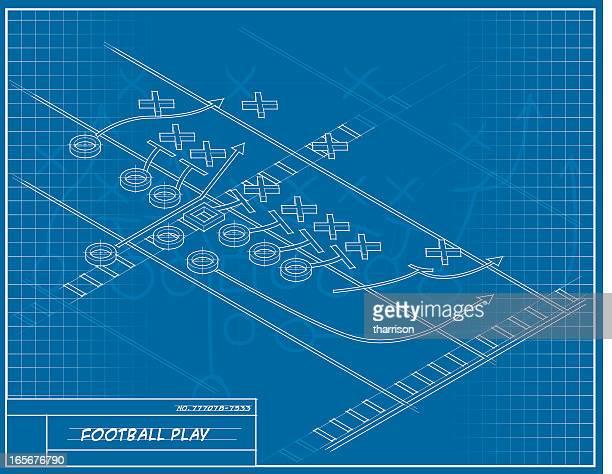 フットボール遊び設計図 - アメリカンフットボール場点のイラスト素材/クリップアート素材/マンガ素材/アイコン素材