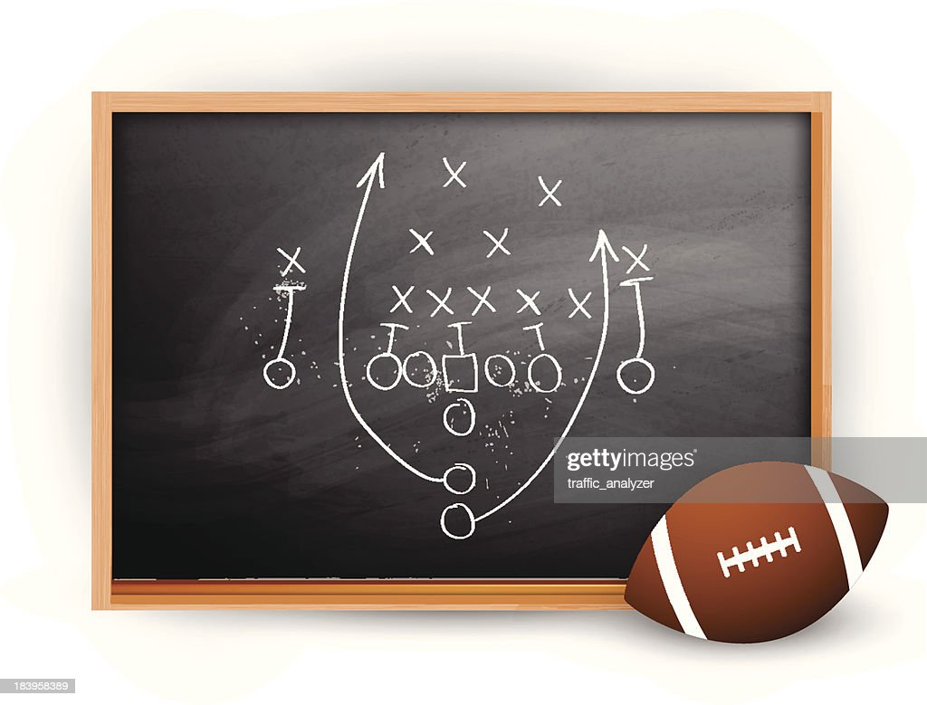 Football play drawn out on a chalk board