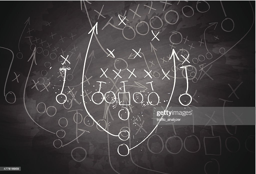 Football play drawn out on a chalk board : stock illustration
