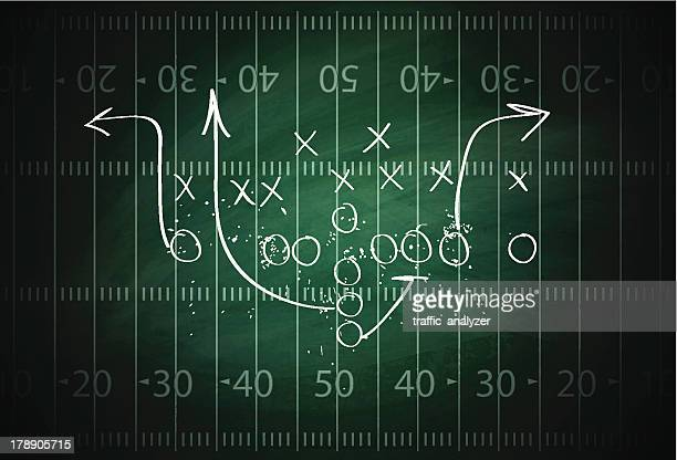football play drawn out on a field - football field stock illustrations, clip art, cartoons, & icons