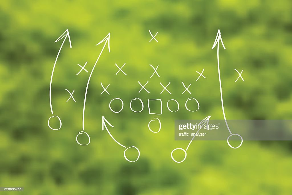 Football play drawn out over green grass