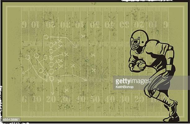 フットボール選手とフィールドの背景 - アメリカンフットボール場点のイラスト素材/クリップアート素材/マンガ素材/アイコン素材