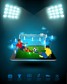 Football player connection on tablet computer