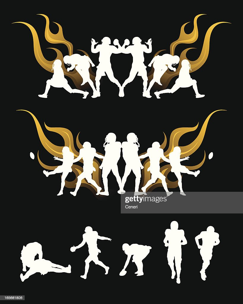 football player in flame, silhouettes : stock illustration