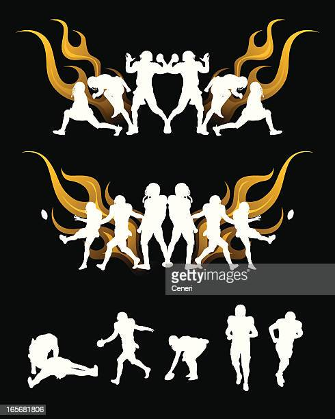football player in flame, silhouettes - touching toes stock illustrations, clip art, cartoons, & icons