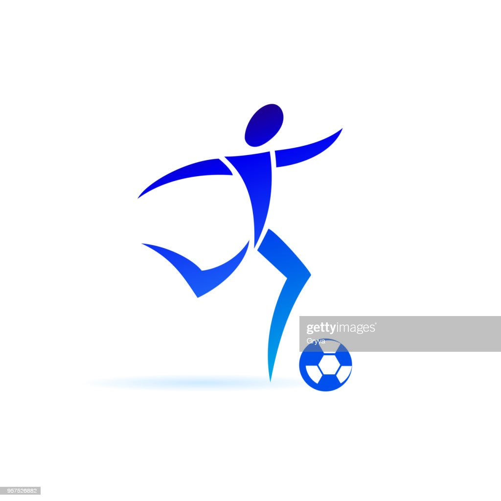 Football player in minimalist style. Sport icon vector isolated on white background.