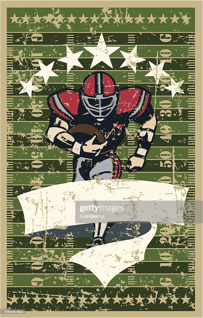 Football Player Running Back - Field Background and Banner