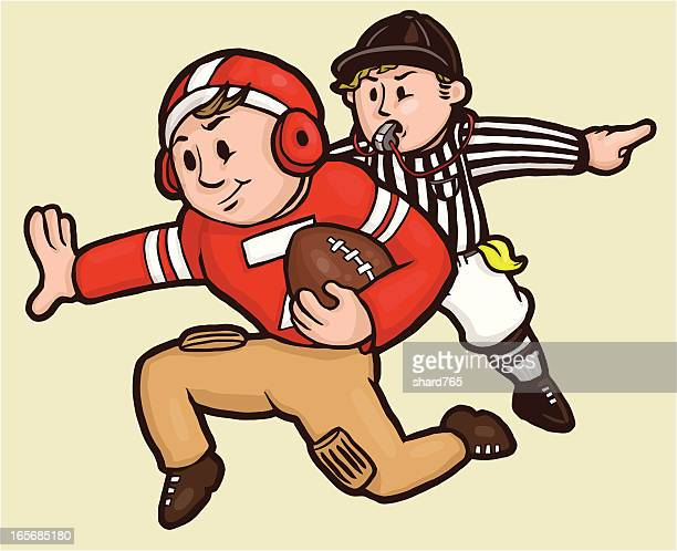 football player running the wrong way! - american football judge stock illustrations