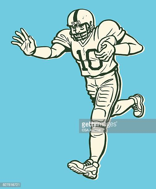 football player running with ball - football player stock illustrations, clip art, cartoons, & icons
