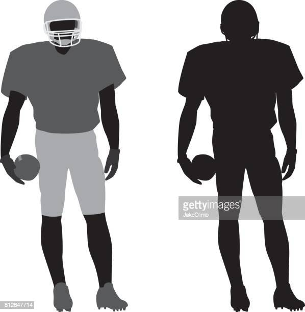 football player silhouette 1 - sportsperson stock illustrations