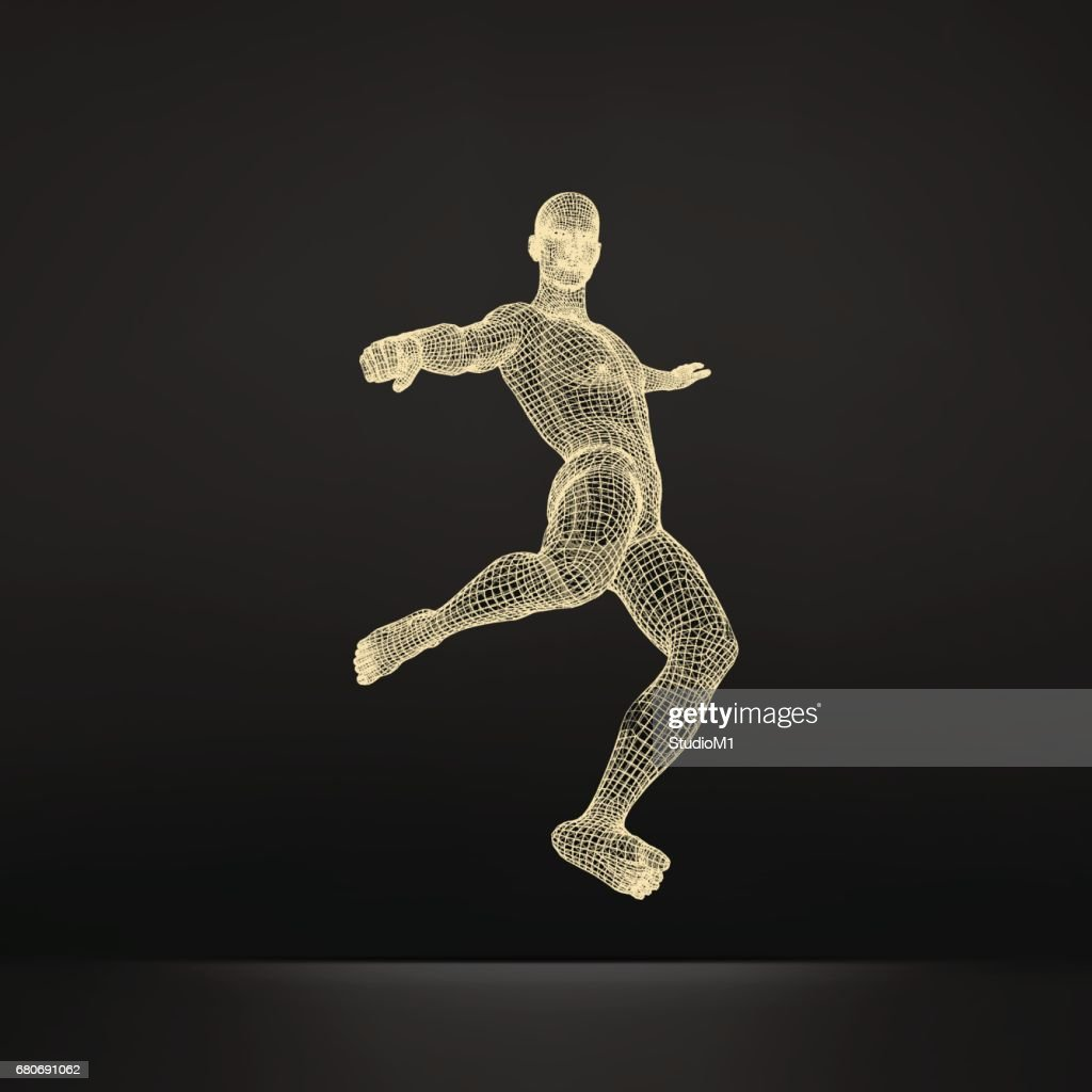 Football player. Sports concept. 3D Model of Man. Human Body. Sport Symbol. Vector Illustration.