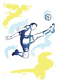 Football player - watercolor jump kick