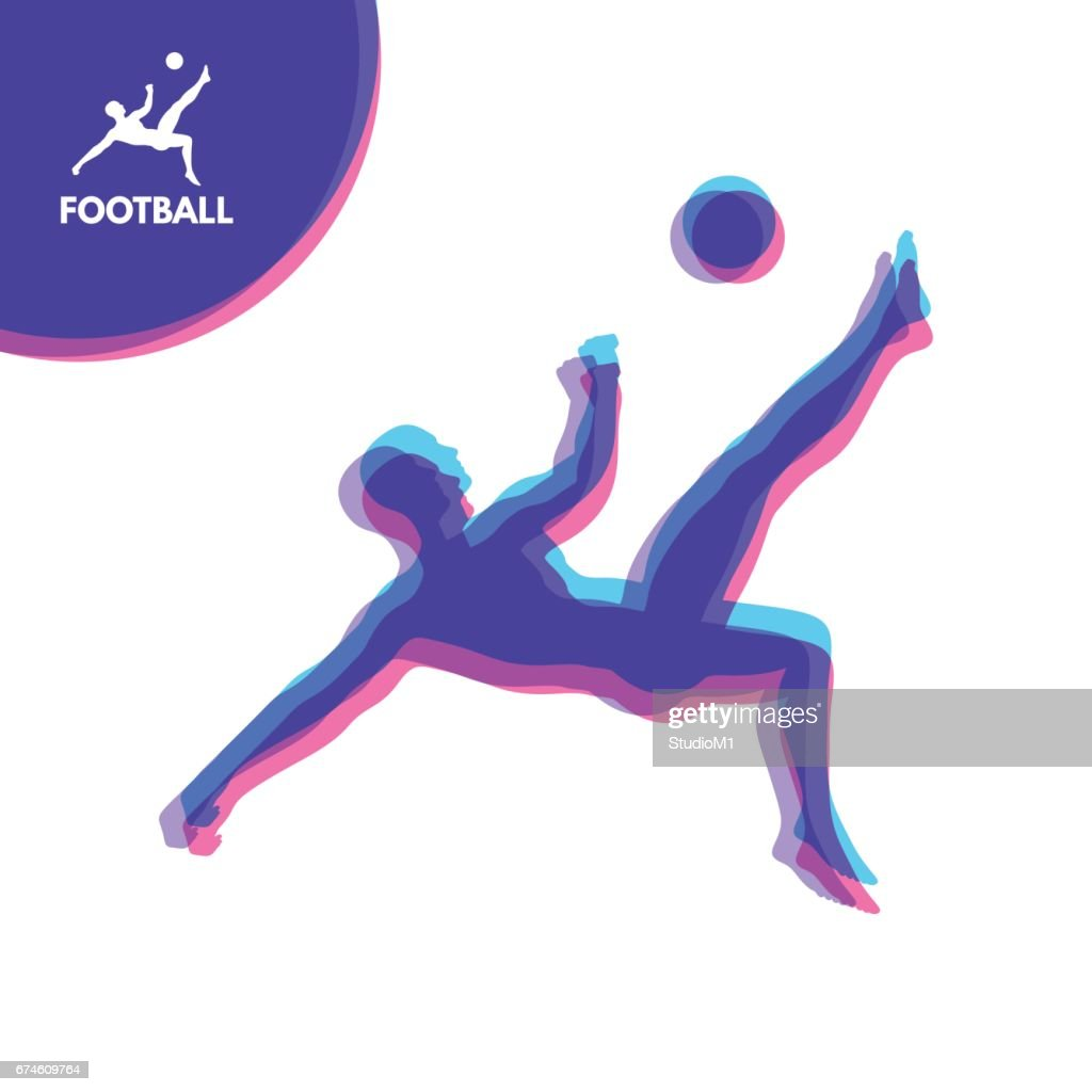 Football player with ball. Sports concept. Vector Illustration. Sport Symbol.