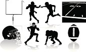 Football Players and Equipment - silhouettes