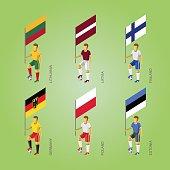 Football players with flags: Germany, Latvia, Estonia, Lithuania, Finland, Poland