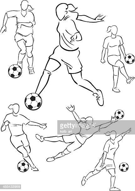 football playing female figures 2 - defender soccer player stock illustrations