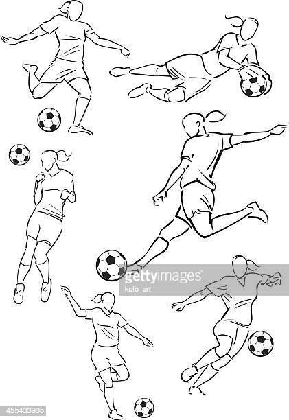 bildbanksillustrationer, clip art samt tecknat material och ikoner med football playing female figures - anfallsspelare fotboll