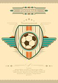 Football poster in retro style. Tournament invitation.