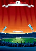 Football poster of a stadium with white banner